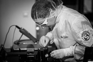 employee working on an ultrafast laser
