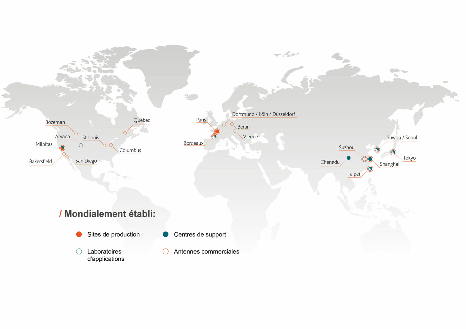 Carte des emplacements d'Amplitude à travers le monde