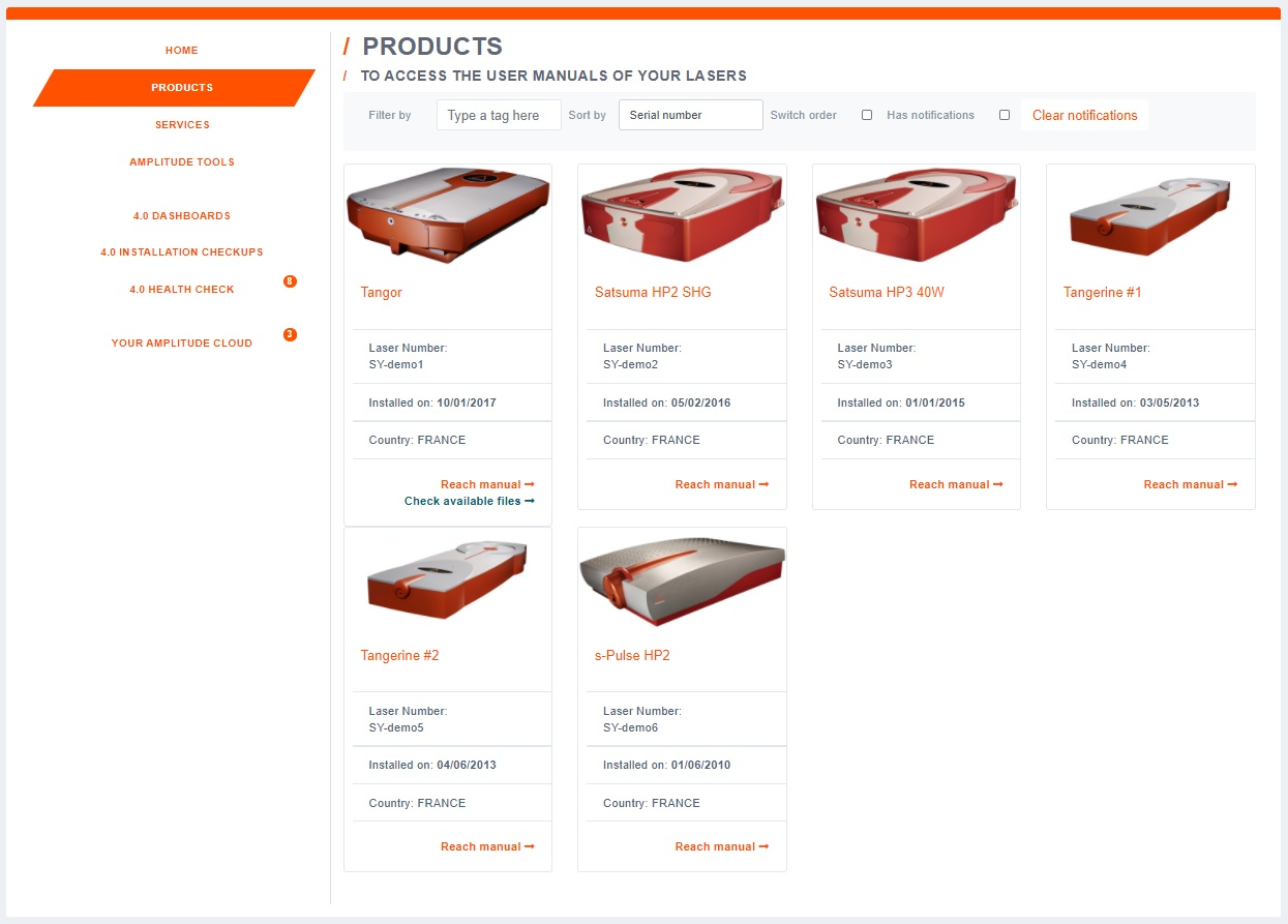 Example of products window on Laser 4.0 platform